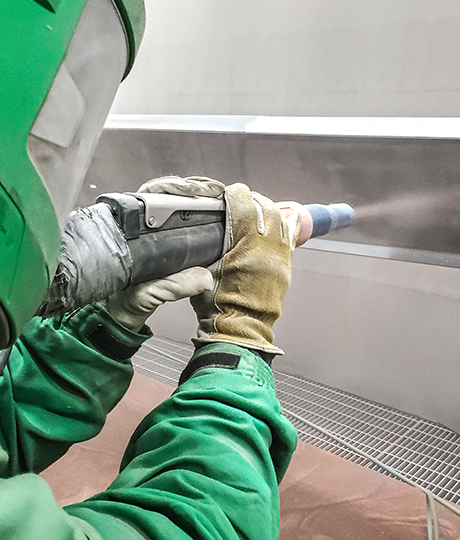 spraying in paint booth