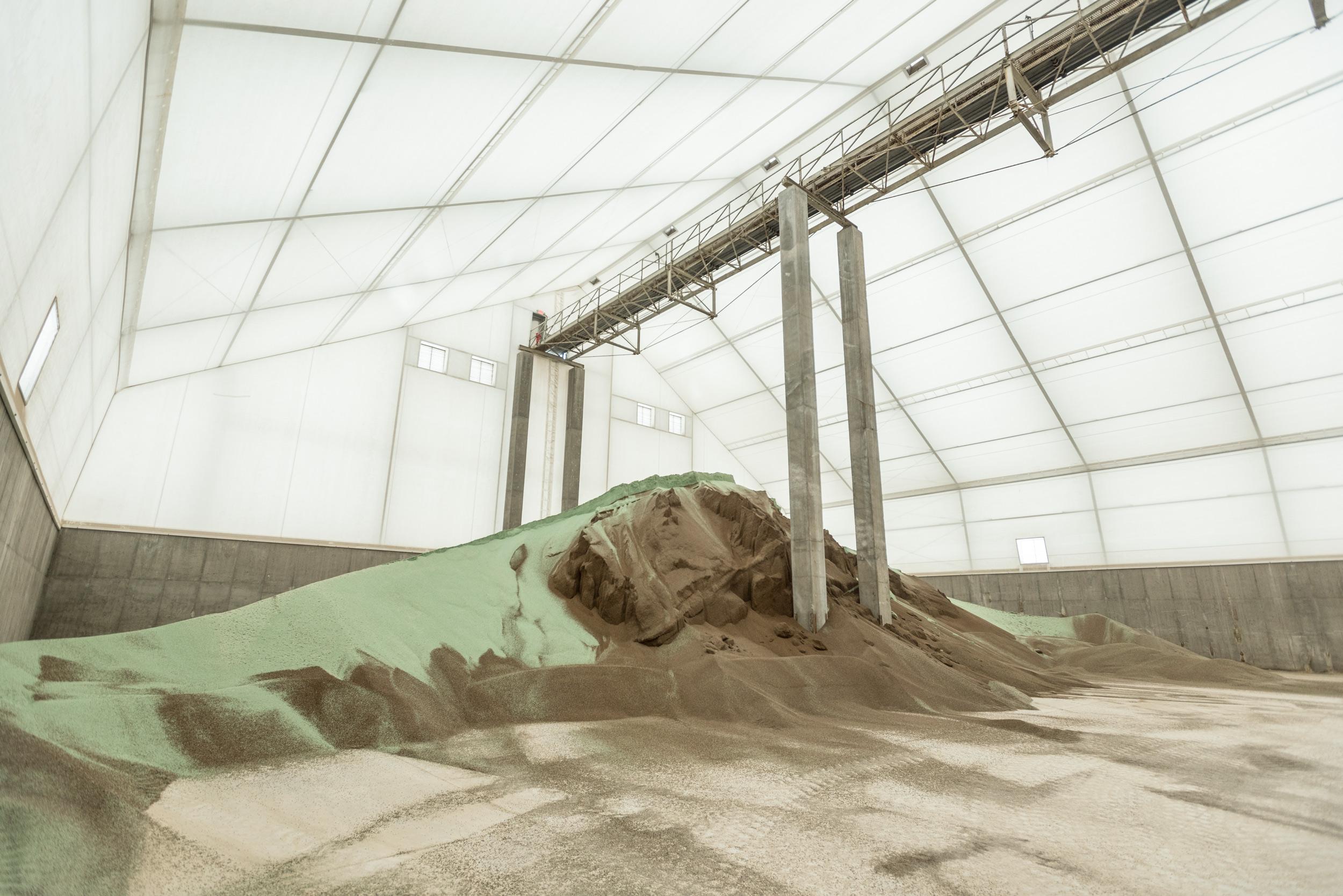 lined fertilizer storage building