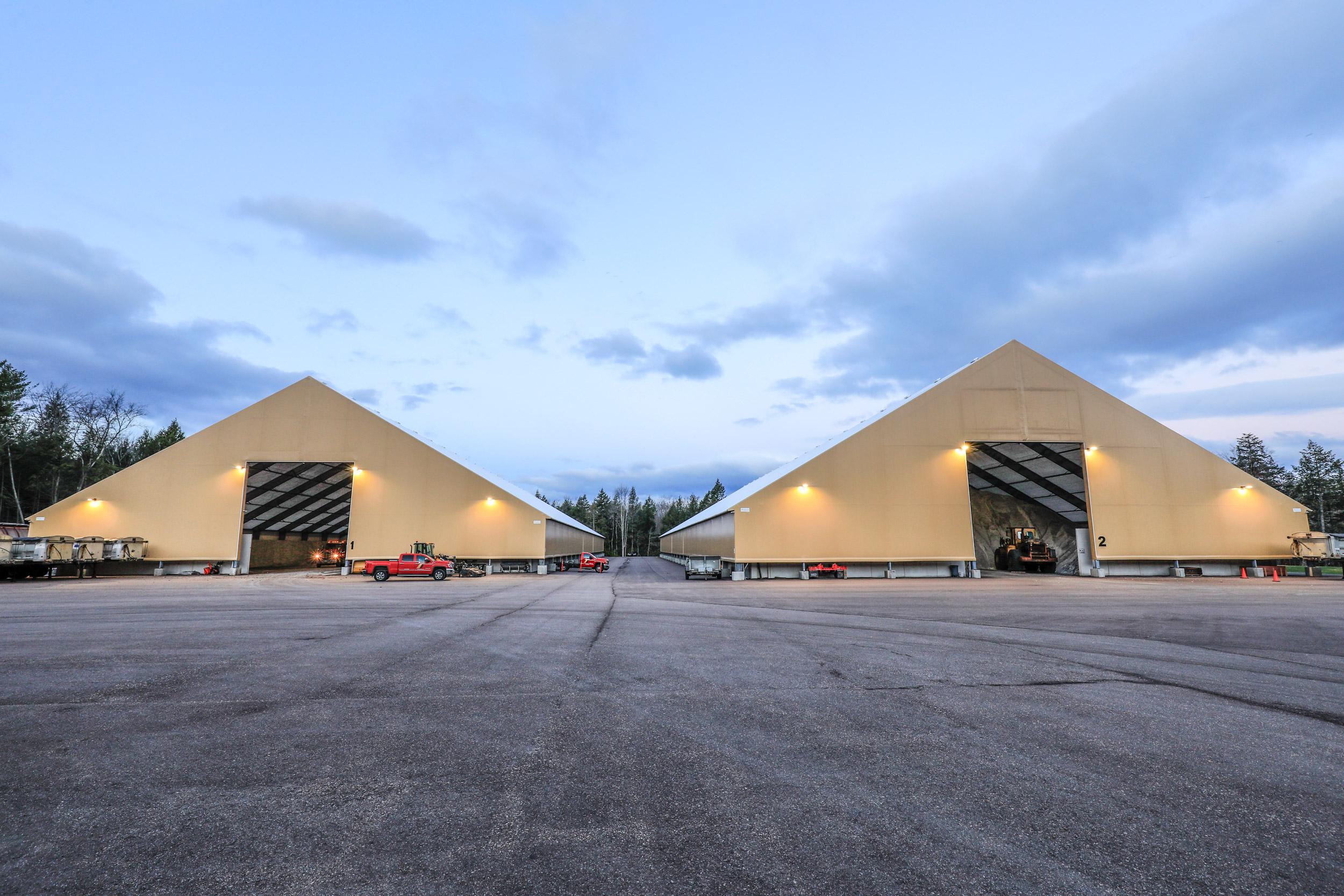 two fabric salt storage buildings